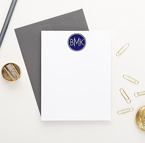 Mens Personalized Stationary, 3 Letter Monogram Stationery Set, Personalized Stationery for Men, Monogrammed Stationary Set, Your Choice of Colors, Set of 10 flat note cards and envelopes (Personalized Stationary For Men compare prices)