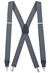 Mens Elastic X-back Adjustable Clip-on Suspenders With Leather Trim - Grey (Tall, 54\