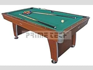 Prime Tech - Grande Table de Billard Marque - 215x120 cm - XXL Couleur BRUN avec garniture vert et Accessoires