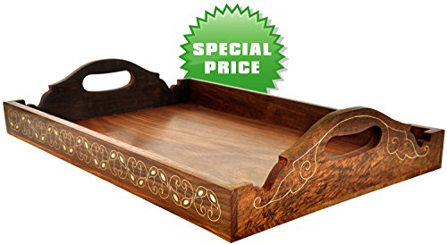 Today's Deals - 100% Guarantee Wooden Trays with Handles Decorative Ottoman Tray Wood Large Serving / Service Tray Luxury Tray for Coffee Table, Tea Serve Food Serving Tray - 15 x 11 ( inch )