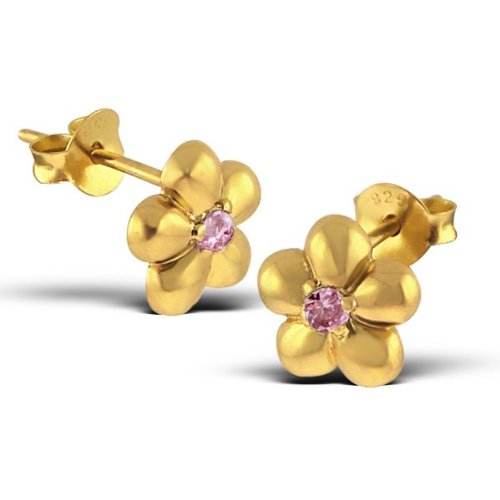 Pair of Small Flower Sterling Silver Stud Earrings with 18ct Gold Plating and Pink CZ Gemstones (0.8cm x 0.8cm) Supplied in Gift Box