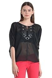 Kazo Women's Body Blouse Shirt (106304BLACKm)