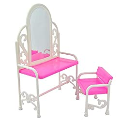 Qiyun Fashion Dressing Table And Chair Set For Barbies Dolls Bedroom Furniture