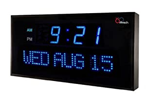 DBTech Big Oversized Digital Blue LED Calendar Clock with Day and Date - Shelf or Wall Mount (22 inches - Blue LED)
