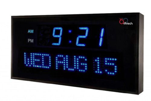 DBTech Big Oversized Digital Blue LED Calendar Clock with Day and Date - Shelf or Wall Mount (16 inches - Blue LED)