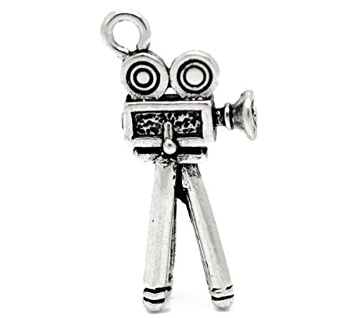 Housweety 20 Stk. Antik Silber Videokamera Perlen Beads Charms Anhaenger 28x12mm
