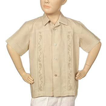 Boys irish linen shirt in natural short sleeve.