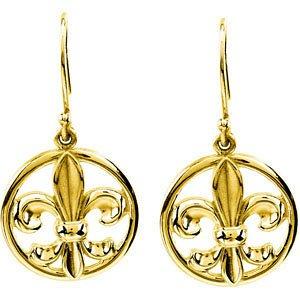 14K Yellow Gold Fleur-De-Lis Earring Fleur-De-Lis Earring