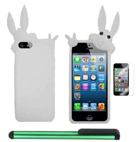=>>  White Rabbit Silicone Skin Premium Design Protector Soft Cover Case Compatible for Apple Iphone 5 (AT&T, VERIZON, SPRINT) + Screen Protector Film + Combination 1 of New Metal Stylus Touch Screen Pen (4