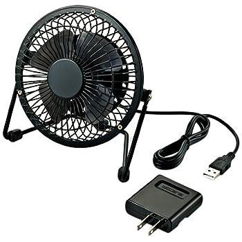 ELECOM USB扇風機 レトロ調スタンド付 ACアダプタ付 ブラック FAN-U18NABK