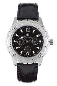 Burgmeister Rom Bm402-112 Gents Quartz Analogue Wristwatch Black Leather Strap Black Dial Tagdate 24H