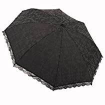 Nw Black Lace Embroidery 98%UV Protection Light Weight Tri-fold Umbrella Parasol