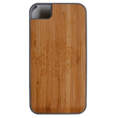 Leebrae - iPhone 4S / 4 - Bamboo Case with Soft Rubberized Feeling on the sides Premium Protector Case Cover (Tree - Gray)