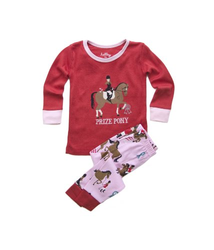 Hatley Infant Long Sleeve Pj Set - Hunter Jumper, Pompeian Red/Pink, 12M