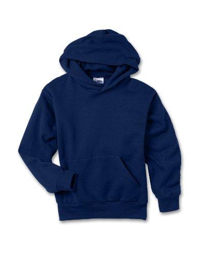 Hanes Youth 7.8 oz 50/50 Pullover Sweatshirt w/hood in Navy - Large (14/16)
