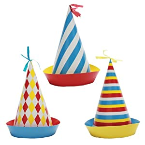 Party Partners Design Retro Big Top Circus Themed Hats, Blue/Red, 6 Count from Party Partners Design