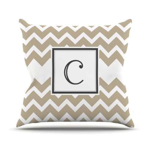 "Kess Inhouse Kess Original ""Monogram Chevron Tan Letter C"" Outdoor Throw Pillow, 16 By 16-Inch front-971389"