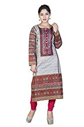 SK Kurtis Stylish Cotton Fabricated Casual Printed Long Cotton Kurtis, Casual Kurtis, Designer Kurtis, Cotton Kurtis, Long Kurtis (Size : Large) (SK0374-L)