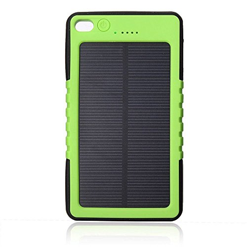 Solar Charger, Braudel 8000mAH Outdoor Portable Power Bank, Waterproof/Shockproof/Dustproof External USB Battery Bank with Carabiner flashlight for Cell Phone, iPhone,Samsung,Android phones,Windows phones,GoPro Camera,GPS and More(Green)