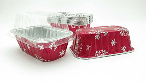 Disposable Aluminum Holiday 1 lb. Mini Loaf Pans with Clear Snap on Lid #9302X (10) (Mini Loaf Pan Disposable compare prices)