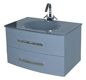 Luxo Marbre Beach 3320 G Beach Vanity With Tempered Glass Sink Grey Bathroom Vanities