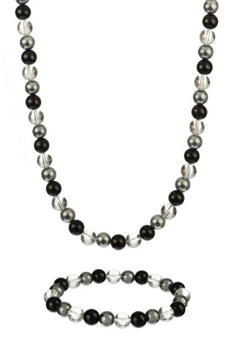 Hematite, Black Onyx, and Round Crystal Bead Necklace and Stretch Bracelet Set