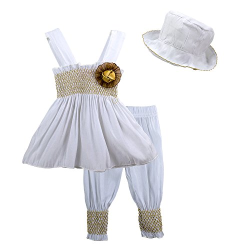 Big Elephant 3 Pieces Baby Girl Sleeveless Dress Leggings Hat Set A26