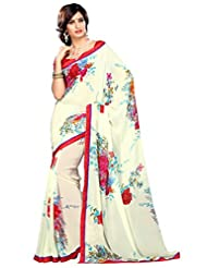 Alethia Light Cream Georgette Indian Wear Printed Sarees With Unstitched Blouse