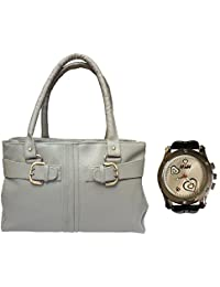Arc HnH Women HandBag + Watch Combo - Buckle Grey Handbag + Premium Silver Heart Watch