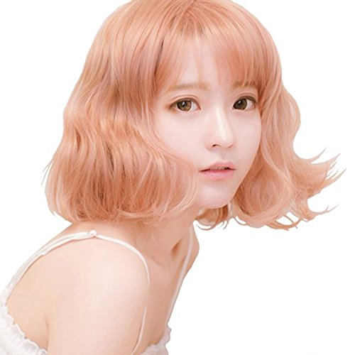 Cfalaicos Wigs for Women Orange Pink Party Wigs Yurisa Same Pretty Cosplay Wigs (Adult Short Pink Wig)