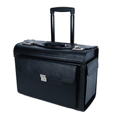 """Quality 19"""" Black Faux Leather Wheeled Flight Pilot Cabin Case, Laptop Bag, Briefcase 48 x 23 x 34cm"""
