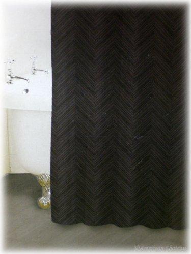 """American Chateau Retro 70"""" X 72"""" Black and Gray Stripe Fabric Bathroom Bath Shower Curtain"""