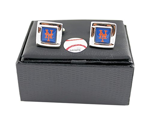 MLB NY New York Mets Square Cufflinks With Square Shape engraved Logo design Gift Box Set