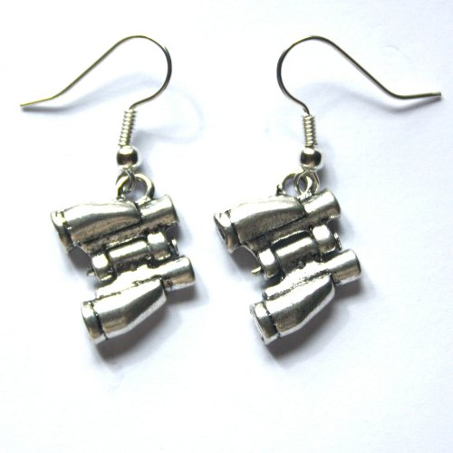 Sour Cherry Binocular Earrings (Silver Plated, Low Nickel Studs)