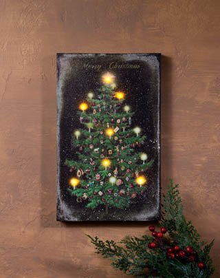 Vintage Christmas Tree Illuminated Canvas