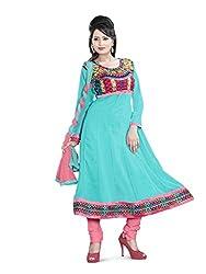 JHEENU Turquoise Faux Georgette Unstitched Dress Material