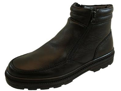 Mens Fur Fleece Lined Black Leather Twin Zip Ankle Boots Hard Wearing Soles UK Size 6