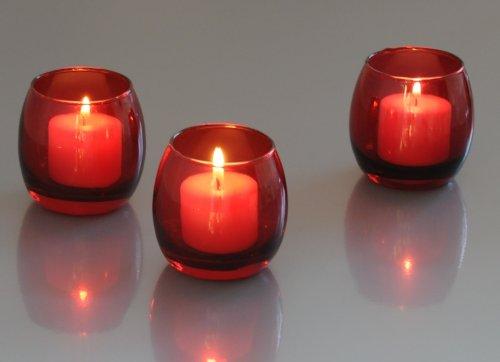 red glass optic votive candle holder 1 dozen 837654723555. Black Bedroom Furniture Sets. Home Design Ideas