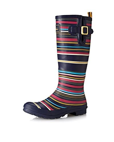 Joules Women's Wellyprint Rain Boot, Navy Multi, 5 M US