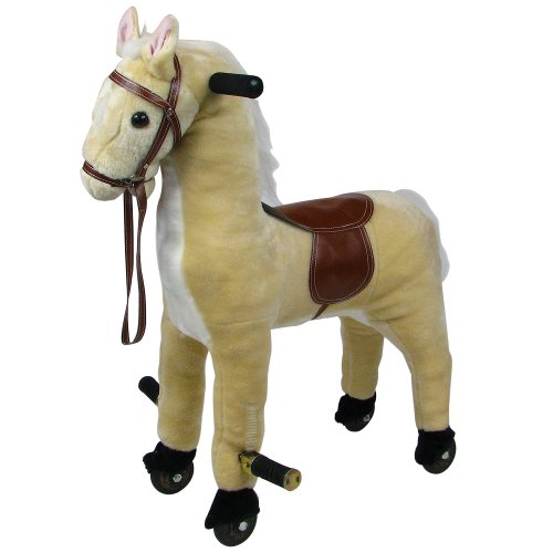 Plush Walking Horse with Wheels and Foot Rest