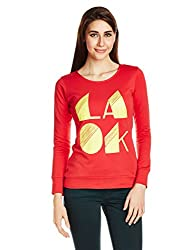 Style Quotient By NOI Womens Cotton Graphic Print Sweatshirt (AW15 SQ LAOK_Red_Small)