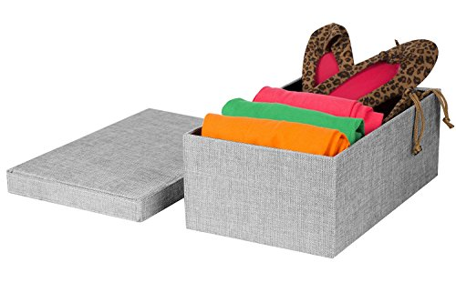 Lowest Prices! Creative Scents Gray Birch Fabric Storage Box, Lidded Shelf-Storage Bin, Decorative C...