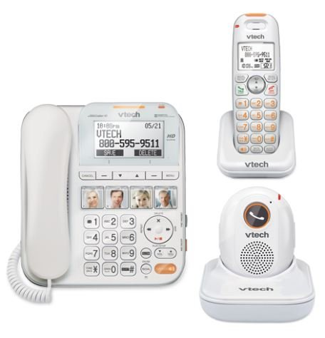 VTECH SN6197 CareLine Expandable Corded/Cordless Phone with Answering System and Accessory Portable Pendant