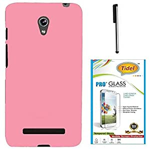 Tidel Stylish Rubberized Plastic Back Cover For Asus Zenfone 5 ( PINK ) With 2.5D Tempered Glass & Stylus