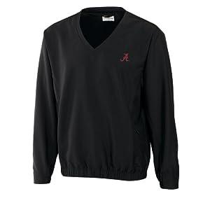 NCAA Mens Alabama Crimson Tide Black Windtec Astute V-Neck Windshirt by Cutter & Buck