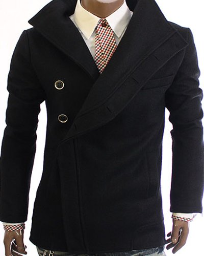 GL Fashions Men's Stylish TurtleNeck Blazer Coat/Jacket - Black - L