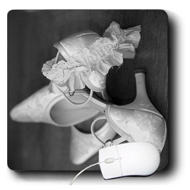 3dRose LLC 8 x 8 x 0.25 Inches Mouse Pad, Vintage Wedding Shoes with Classic White Garter (mp_76953_1)