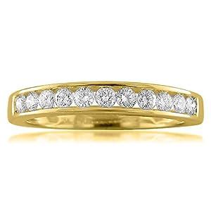 18k Yellow Gold 11-Stone Round Diamond Bridal Wedding Band Ring (1/2 cttw, I-J, VS2-SI1), Size 4.5