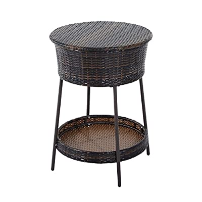 Outsunny Outdoor Patio Rattan Beverage Cooler Ice Bucket with Lid
