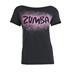 zumba fitness cosmic top women 39 s t shirt black size xs s sports outdoors. Black Bedroom Furniture Sets. Home Design Ideas